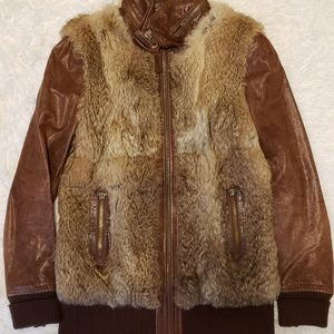 Mackage Lambskin & Rabbit Fur Leather Jacket